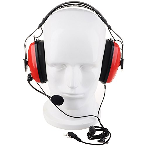 KENMAX 2 Pin Noise canceling Headset Headphone with PTT Mic for Walkie Talkie Kenwood Puxing Wouxun Baofeng (Red)