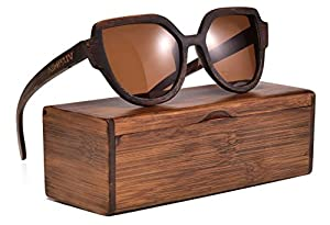 Wood Polarized Sunglasses 100% UV Protection, Bamboo Wooden Frame