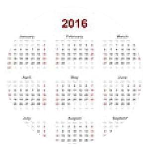 alfombrilla de ratón Calendario 2016 Inglés - ronda - 20cm