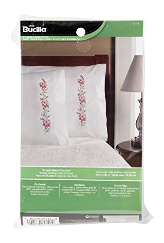 - Bucilla 47704 Stamped Cross Stitch and Embroidery Sampler Rose Pillowcase Kit, 20 by 30