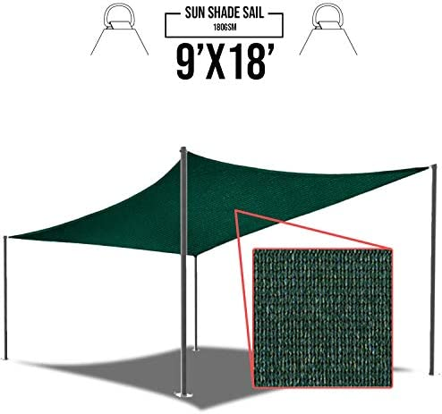 E K Sunrise 9 x 18 Green Rectangle Sun Shade Sail Outdoor Shade Cloth UV Block Fabric,Curve Edge-Customized