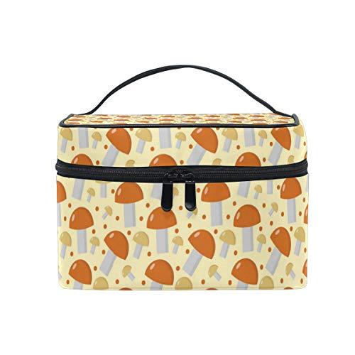 Cosmetic Bag Mushrooms Boletus Edulis OrangeTravel Makeup Brush Organizer Bag Multifunctional Travel Toiletry Bag