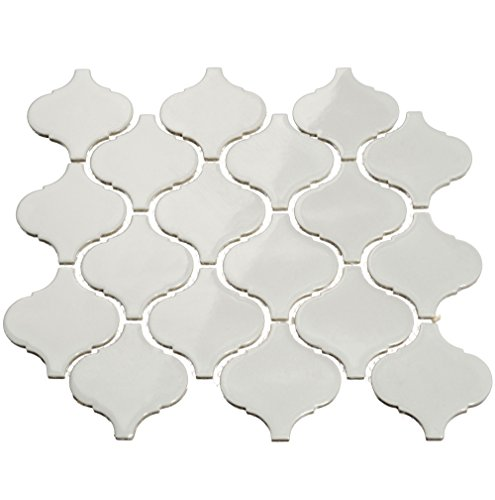 Giorbello Light Gray Porcelain Arabesque Tile Case of 18 Sheets (13.4 sq. ft.)