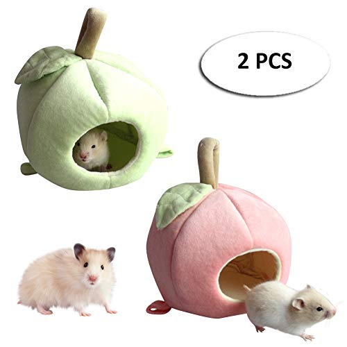 AOFITEE Hamster Hammock - 2 Pack of Small Animal Hanging Bed House, Cute Apple Banana Pet Nest Cage Accessories for Sugar Glider/Guinea Pig/Squirrel/Chinchilla/Rat -