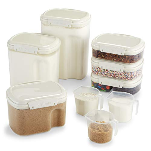 - Sistema Bake IT Collection Food Storage Containers, Clear/White, 9-Piece Set