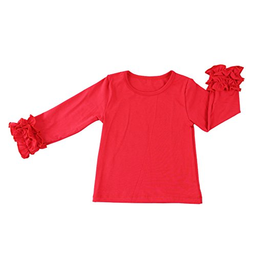 - Wennikids Little Girls' Long-Sleeve Ruffle T-Shirt X-Large Red 01