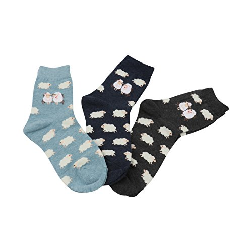 FloraKoh Women Cotton Crew Casual Socks 3 Pair Pack Denim Sheep Sock size 9-11 one ()