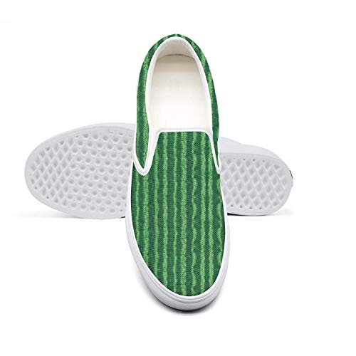 Green Watermelon rind Women's Shoes Canvas Sneakers White Slip ons Crazy Casual Sneakers Running Shoes
