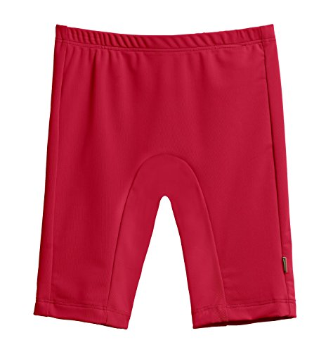 City Threads Little Boys' and Girls' SPF50+ Swim Jammer Swimming Shorts Swim Bottoms Briefs With Sun Protection SPF For Beach Pool or Play, Red, - Jammer Shorts