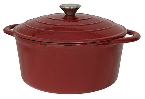 (Useful UH-CI136 5.5QT Cast Iron Enamel Covered Round Dutch Oven With Lid )