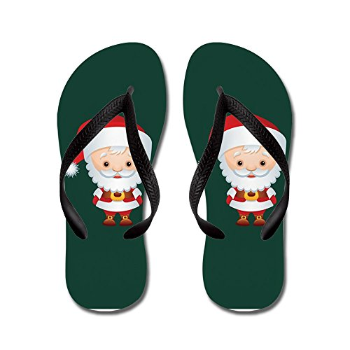 - Truly Teague Kid's Christmas Cuties Santa Claus Black Rubber Flip Flops Sandals 4.5-7