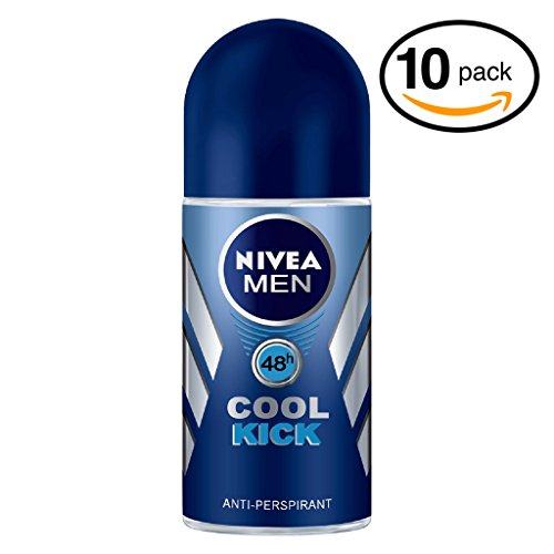 (Pack of 10 Bottles) Nivea COOL KICK Men's Roll-On Antiperspirant & Deodorant. 48-Hour Protection Against Underarm Wetness. (Pack of 10 Bottles, 1.7oz / 50ml Each Bottle) by Nivea