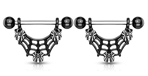 Pierced Owl Dangling Spiderweb and Spiders Nipple Rings - Sold as a Pair