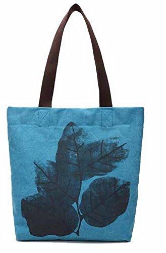 Bolsas Azul mano de Compras de Mujeres hombro Bolsas Lona FBUBBD180750 AllhqFashion Casual wPq41nt