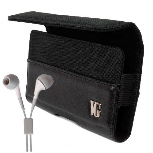 Portola All Black HTC Sensation XL Leather Case for HTC Sensation XL 4G Android Phone (T-Mobile , Z710E Unlocked , All Models) + Compatible White HTC Sensation XL Earbud Earphones