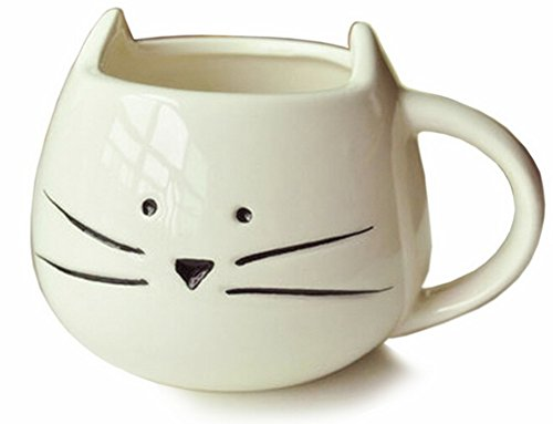 Amazon Lightning Deal 90% claimed: New Lovely Cute Little White Cat Coffee Milk Ceramic Mug Cup Christmas Birthday Best Gift