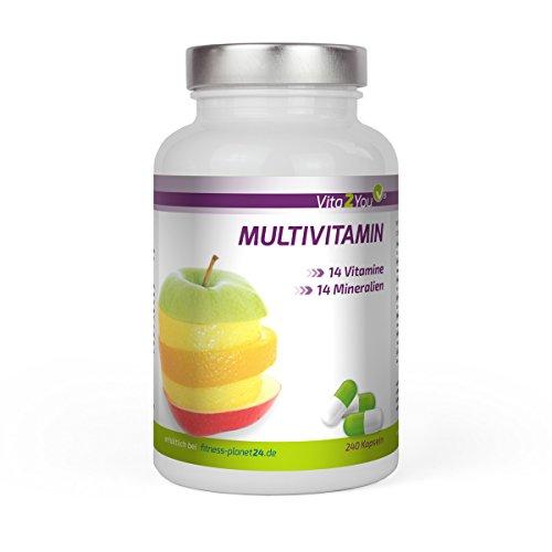 Vita2You Multivitamin 240 Kapseln - 28 Vitamine & Mineralien - Premium Qualität - Made in Germany
