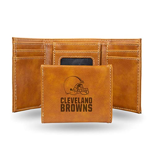Rico Industries NFL Cleveland Browns Laser Engraved Tri-Fold Wallet, Brown