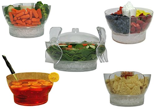 Large Clear Serving Bowl on Ice with Lid Cover and Tongs Set - Perfect for Salad Fruit Vegetable Trays Chips and Salsa Shrimp Cocktail Punch Seafood Platter - Big Plastic Party or Holiday Server