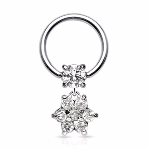Round CZ and Gem Paved Flower Dangle 316L Surgical Steel Freedom Fashion Captive Bead Ring (16 Gauge Gem Dangle)