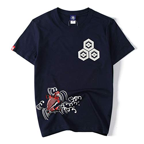 iHPH7 T Shirt, Shirts Fashion Solid Printing Style Design T-Shirt Casual Shirts Tops Blouse Men (L,Navy)
