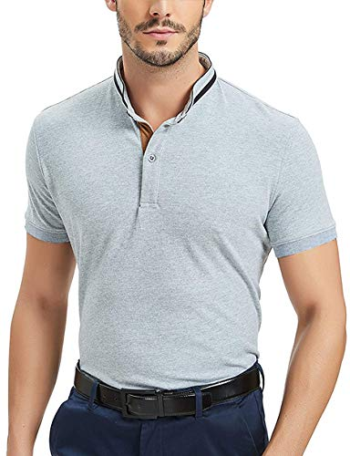 COOFANDY Men's Short Sleeve Polo Shirt Slim Fit with Pockets Polka Dot Collar Solid Color Golf Polo Shirt T-shirts