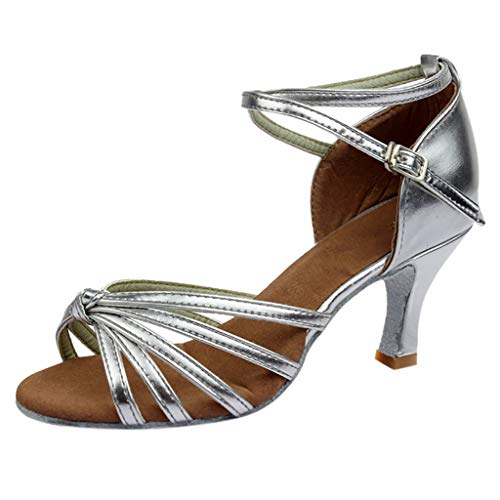 Londony  Women's Satin Latin Dance Shoes Ballroom Performance Shoes Model Ballroom Latin Salsa Dance Shoes Silver