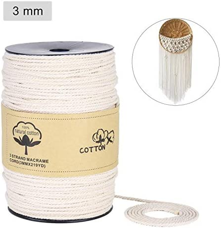 DIY Craft Knitting ONEPENG Macrame Cord 4mm x 219Yards(200M)100/% Natural Macrame Rope 3 Strand Twisted Cotton Cord for Wall Hanging Crafts Plant Hangers Decorative Projects Soft Undyed Cotton Rope