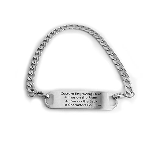 (Performance IDs Engraved Polished Stainless Silver Traditional Curb Link Alert ID Bracelet for Men, Women, Adults, Elderly, (7.5))