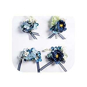 Deep Blue Flower Boutonniere for Men Silk Roses Wedding Prom Corsage Artificial Groom Groomsmen Buttonhole Flowers Pins 31