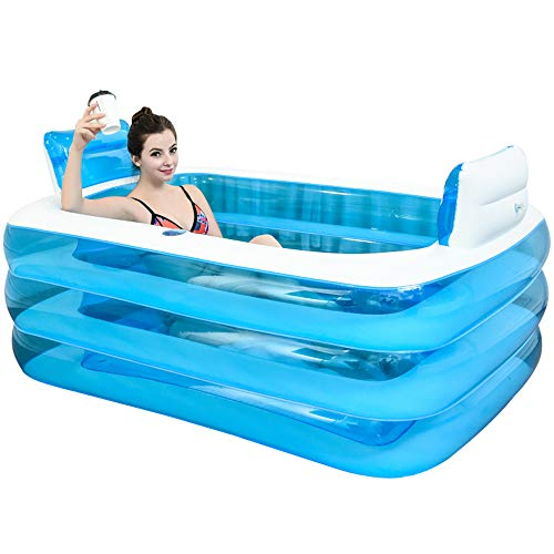 Adult Inflatable Bathtub (XL Blue Color Inflatable Bathtub Plastic Portable Foldable Bathtub Soaking Bathtub Home SPA Bath Equip with Electric Air Pump,)