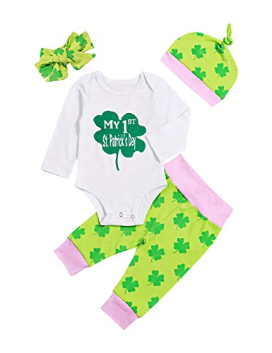 Newborn Baby Boy Girl My 1st St Patricks Day Outfit Long Sleeve Bodysuit Shamrock Onesie Pants 4Pcs Clothing Set 3-6M Green (Clothes Day Girls St Patricks)