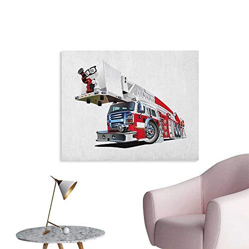 Anzhutwelve Truck Painting Post Firetruck Speeding to Danger Illustration Emergency Services Theme 911 Cartoon Poster Paper Blue Grey Red W36 xL24
