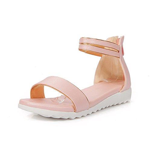 AllhqFashion Women's Solid PU Low-heels Open Toe Zipper Sandals, Pink, 36 by AllhqFashion