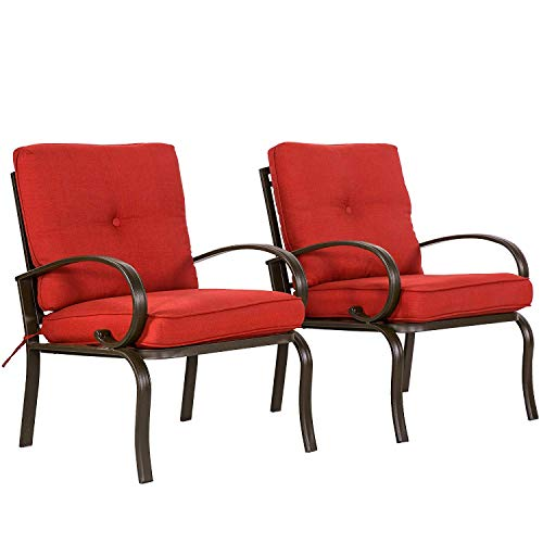 Outdoor Club Patio Chairs(Set of 2) - Iron Dining Garden Backyard Furniture Seating Two Sets Armchairs, Brick Red Cushions