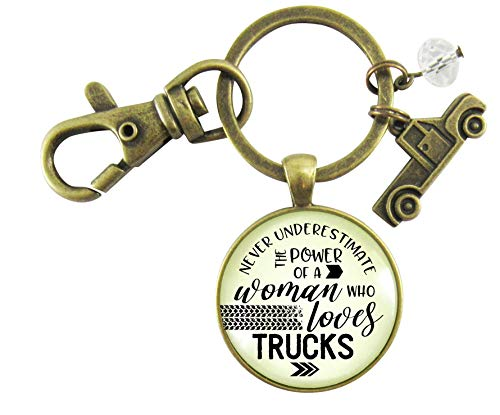 Truck Charm Keychain Never Underestimate The Power Of A Woman Who Loves Trucks Country Jewelry For Women