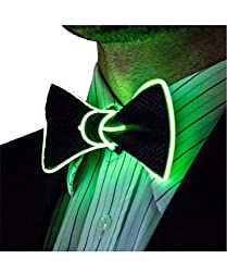 Light Up Green Color Bow Tie