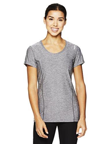 Reebok Women's Dynamic Fitted Performance Short Sleeve T-Shirt- Medium Grey Heather Marled/Grey, Small
