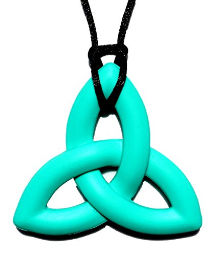 Religious Turquoise Pendant - Peacemaker Jewelry Trinity Knot Silicone Teething Pendant Necklace (Turquoise)