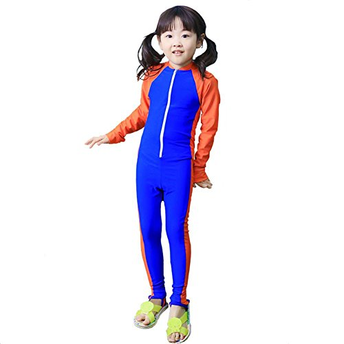 MAIBU Kids UPF 50+ Sunsuit Long Sleeve Swimwear One-piece Bodysuit Swimsuit Age 3-9years Royal Blue 3XL 4 One Piece Swimsuits