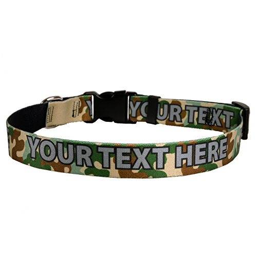 Green Camo Camouflage Personalized Dog Collar - Medium 1