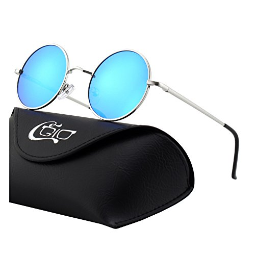 CGID E01 Small Retro Vintage Style Lennon Inspired Round Metal Circle Polarized Sunglasses for Women and - Best Face For Round Sunglasses Small