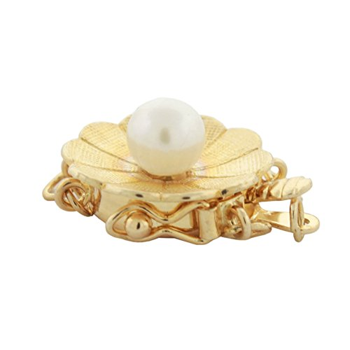 14K Yellow Gold 5mm Akoya Cultured Pearl 3 Strand Flower Design Safety Box Clasp, 14mm (Box Strand Clasp Sterling 3)