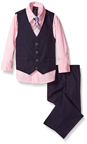 Nautica Little Boys' Toddler Pindot Vest Set, Pink Candy, 3T