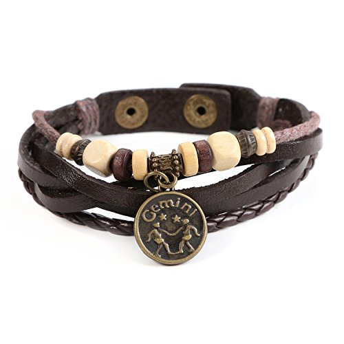 Lucky Handmade Natural Constellation Zodiac Sign Logo Genuine Real Leather Bracelet with Charms, Beads, Button, Adjustable Size, Gift for Him or for Her, Unisex (Gemini - Brown Leather)