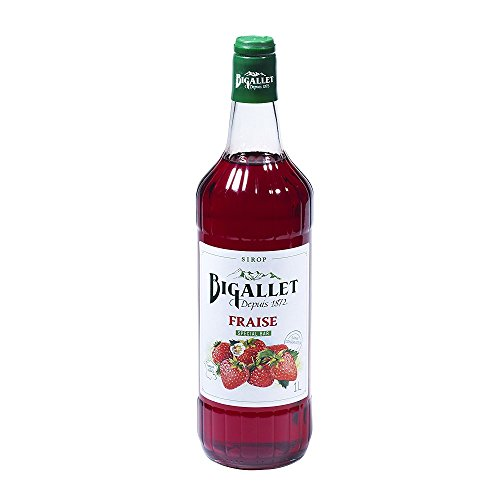 Bigallet Syrup - Strawberry- Produced at the foot of the French Alps - Non-GMO, Vegan Friendly, No Preservatives (Strawberry - Fraise) - 1 Liter Bottle