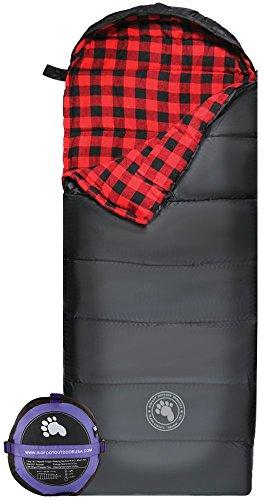 Bigfoot Outdoor Lumberjack Water Resistant Backpacking Compact Sleeping Bag (Red Flannel, L; Width = 32; 20ºF; 5.3lbs.)