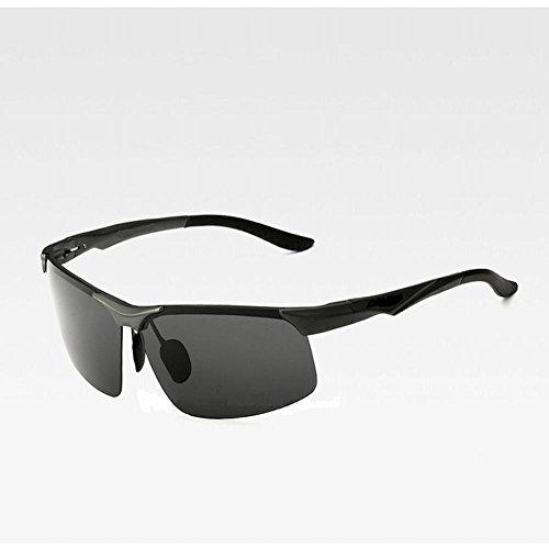 de magnesio Gafas Sol de de Las wei del Un Sol Gafas del de negro polarizador Aluminio Negro Tamaño gA0qCR