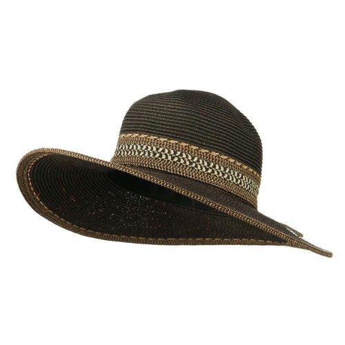 UPF 50+ Contrast Stitching Multi Colored Paper Braid Hat - Black OSFM
