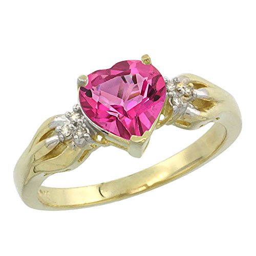 Pink Gold Heart Ring (10K Yellow Gold Natural Pink Topaz Ring Heart-shape 7x7mm Diamond Accent, size 9)